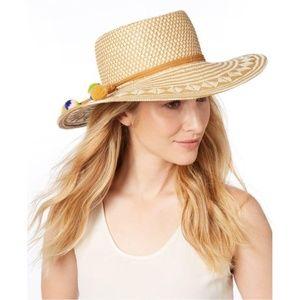 Nine West | Patterned Woven Pom Pom Bolero Hat
